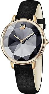 Swarovski Women's 35mm Black Leather Band Steel Case Sapphire Crystal Quartz Analog Watch 5416009