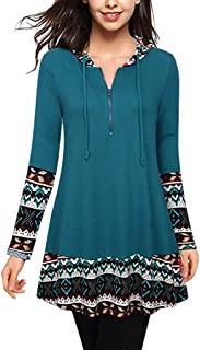 99ca841786a1c Fainosmny Womens Hoodies Loose Shirt Tops Zipper Patchwork Pullover  Drawstring Hooded Sweatshirt Long Sleeve Tunic