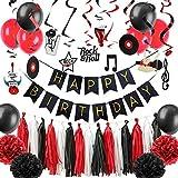 Decoraciones Fiesta Rock Roll Decoraciones Para Fiestas Set Música Colgante Remolino Decoración Papel Flores Borla Guirnalda Globos De Látex Suministros De Fiesta De Cumpleaños, China