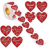 1000 unids Forma de corazón rojo Gracias Pegatinas 8 Designs Calcomanía de corazón Etiquetas de sellado adhesivo para sobres Horneado Compras Mercancía Bolsas Boda Cumpleaños Baby Shower Favor de fies