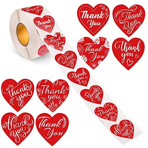 1000 unids Forma de corazón rojo Gracias Pegatinas 8 Designs Calcomanía de...