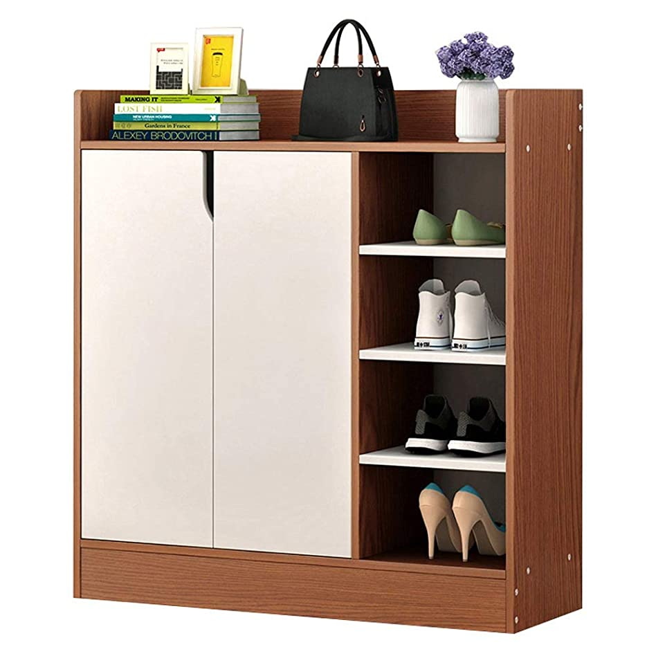 シットコムマーベル雇用者靴の棚4の棚の2つのドアが付いている棚のキャビネットのオフィスの収納キャビネット 整理しやすくする (色 : 褐色, サイズ : 80*30*80cm)
