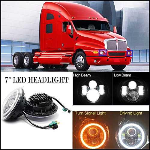 7 Inch For Kenworth T2000 LED Round Headlight Halo Ring Angel Eyes Hi/Low Double Beam DRL Amber Turning Signal Lights Replacement 6000K 6012 6014 6015 H6024 H6017 60W 2Pcs - US Stock -  Autobaba, 7 inch 75W 2 - AB-05
