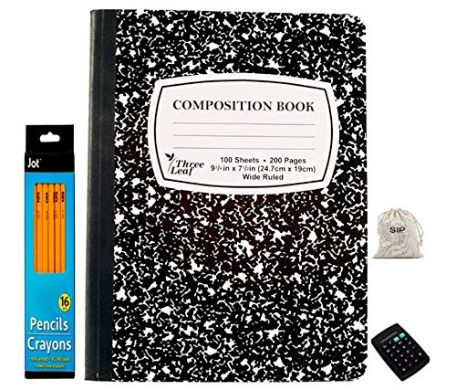 SIP-Weekly Class Schedule Multiplication/Conversion Tables on Cover (1) Composition Marble Notebook Wide Ruled 100 Sheet, (1)16 Pack Wood Pencils, (1) pocket calculator RANDOM SELECTION (Bundle of 3)