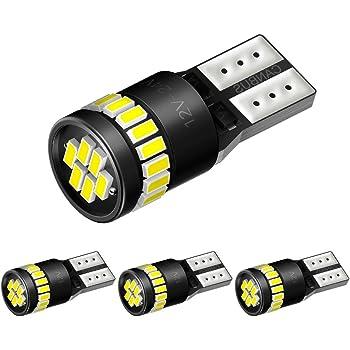 AUXITO T10 LED ホワイト 爆光 4個 キャンセラー内蔵 LED T10 車検対応 3014LEDチップ24連 12V カー/バイク ポジション ナンバー灯/ルームランプ (一年保証)