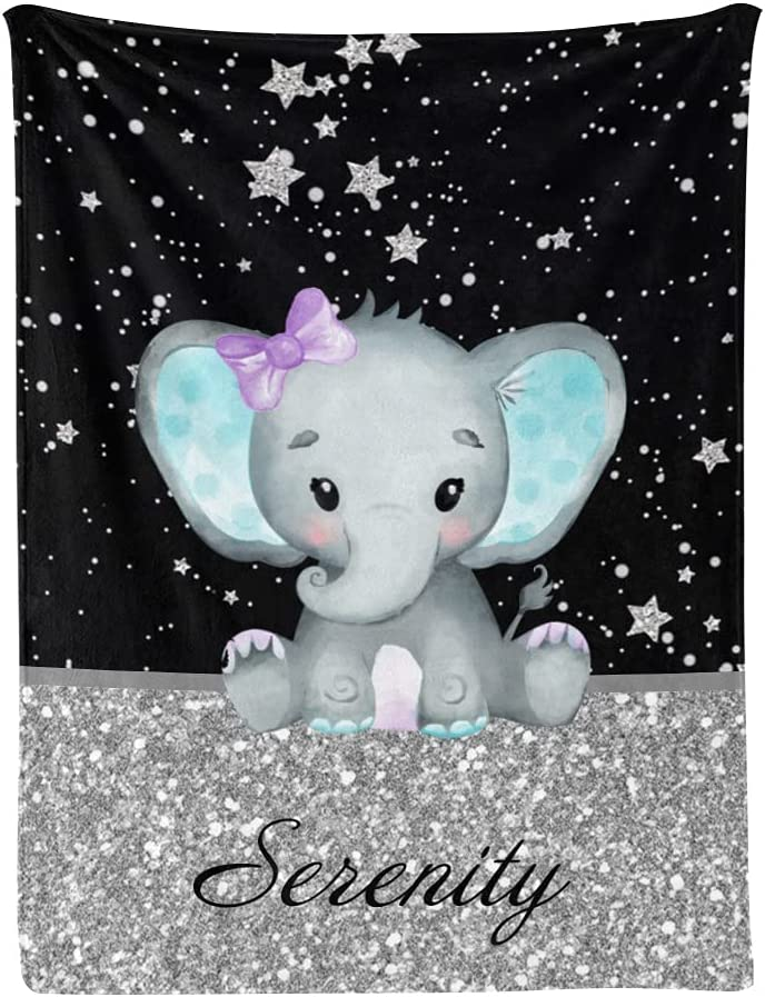 Personalized Japan Maker New Floral Purple Elephant Baby Name with Custo Cash special price Blanket