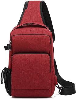 Men USB Charging Crossbody Bags Antitheft Chest Pack Messengers Bag Waterproof Shoulder Bag (Color : Red)