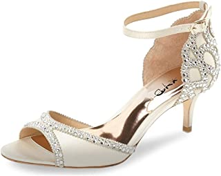 Ballroom Dance Shoes Wedding Sandals Pumps with Rhinestones Ankle Strap Peep Toe Heels for Women