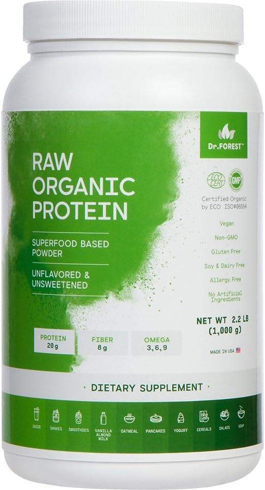 Dr. Forest Orgánico en polvo de proteínas vegetales veganas prensadas en frío – Añadir a tus batidos o batidos favoritos – sin OMG certificado ...