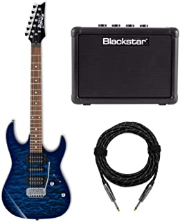 Ibanez GRX70QA GIO Electric Guitar Bundled with Fly 3 Amp and Knox Guitar Gear Cable (3 Items)
