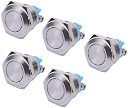 WerFamily 5 Pcs 16mm Waterproof Momentary Stainless Steel Metal Push Button Switches 250V 3A 1NO SPST Flat Top