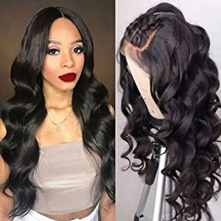 Maxine Glueless 360 Lace Frontal Wigs Human Hair with Baby Hair Brazilian Body Wave Virgin Hair Wig 130% Density 360 Lace Wig with Natural Hairline for Women Natural Color 20 inches