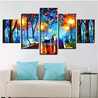 BUER Canvas Poster Home Decor Wall Art 5 Pieces Walk in Rainy Night Scene Picture Abstract Color Tree Painting