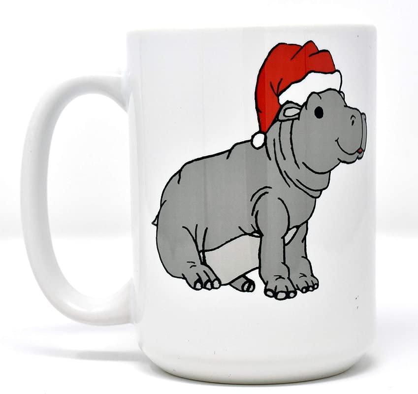 Christmas Hippopotamus Hippo Dishwasher Safe Coffee Mug 15 Oz