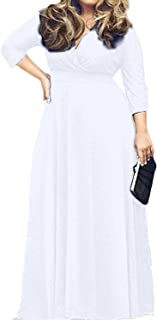 Women's L-4XL Solid V-Neck Long Sleeve Plus Size Maxi Dress