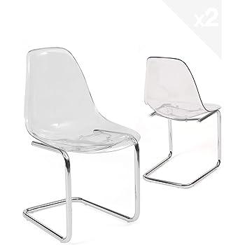 Ikea Tobias Chaise Transparent Chrome Amazon Fr Cuisine Maison