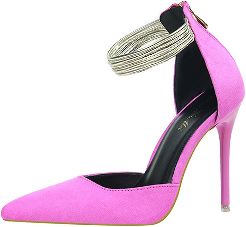 Xianshu Spitze Hoher Absatz Schuhe Knchelring Reiverschlussper Pumps für Frauen Stiletto Court Schuhe Sandalen