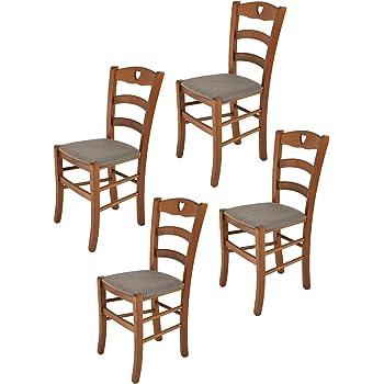 Tommychairs Set 4 sedie Classiche Cuore per Cucina e Sala da Pranzo, Robusta Struttura in Legno di faggio Color Noce e Seduta Imbottita e Rivestita