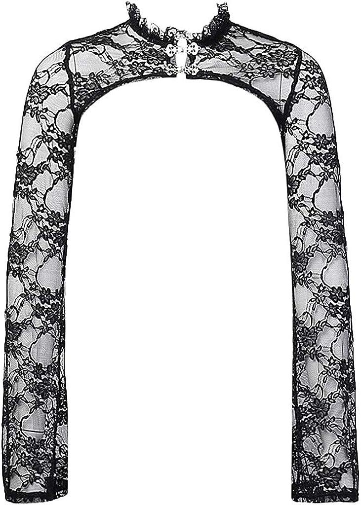 │IMMOA│Women Gothic Lace Shrugs Steampunk Jacket Retro Sexy Bolero Vintage Shawl Long Sleeve Hollow Out Tops Cardigan