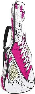 EGGDIOQ Guitar Bag Pink Shoes Dog Gig Bag Dual Adjustable Shoulder Strap & Pocket Acoustic Guitar Case Oxford Guitar Backpack