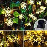 Sooair Copo de nieve LED, cadena de luces LED, luces de Navidad, copo de nieve, cadena de luces solar para exterior, resistente al agua (blanco cálido)