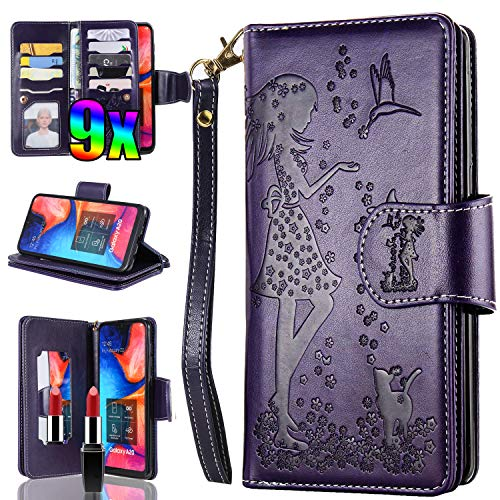 Samsung Galaxy A20 A50 Wallet Case,Vodico A30 Phone Case with Card Holder,Vintage Book Leather Folio Flip Trifold 9 Card Slots Magnet Full Body Protective Purse with Strap Mirror&Cash Pocket (Purple)