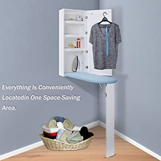 Qotone Ironing Board Center Cabinet,4 in 1 Multi-funcational Wall Mount Closet with Mirror and Storage Shelves
