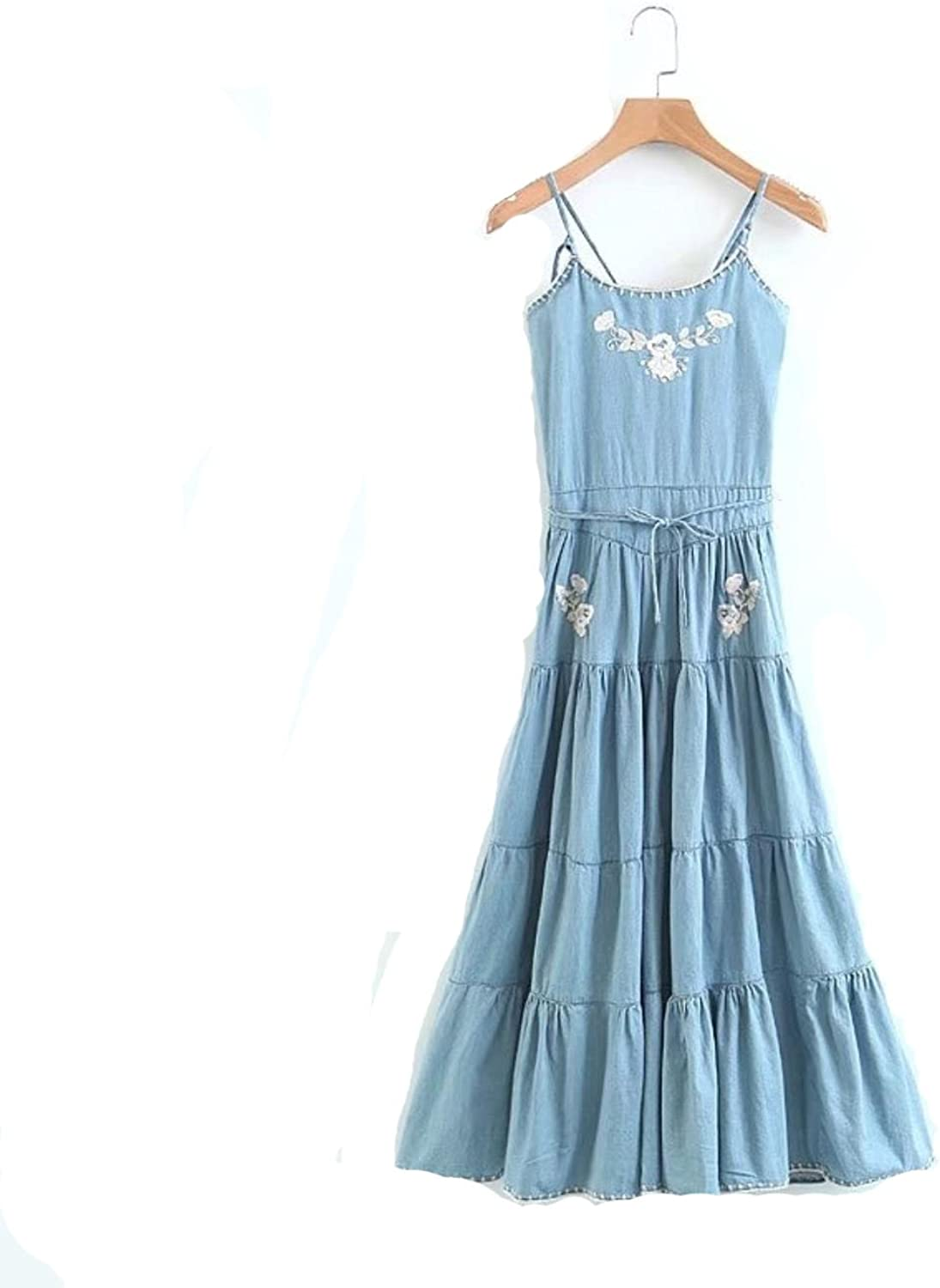 BAezRkkX Women Flower Embroidery Halter Big Swing Dress Summer Casual Washed Denim Dresses