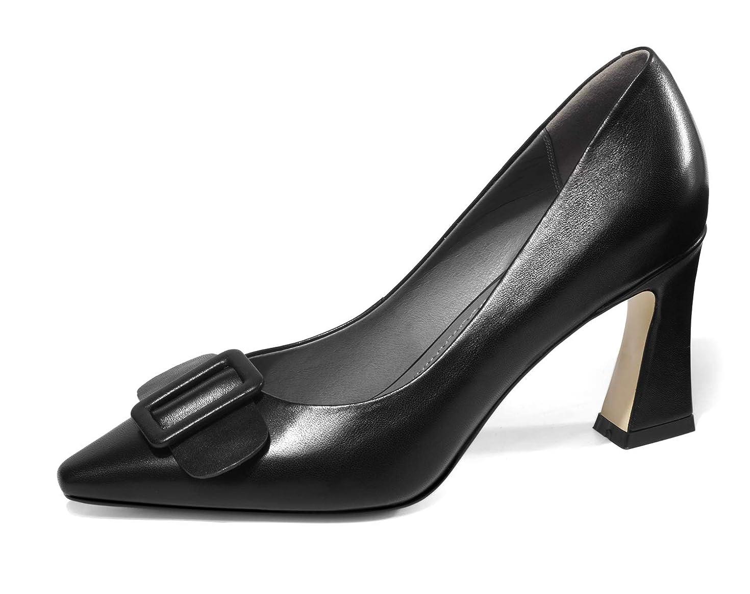 借りている長くする風[チカル] レディース パンプス バックル ハイヒール パンプス モカシン シューズ 手造り 靴 美脚 7.5cm 太ヒール 牛革 レザー 本革 オフィス カジュアル 通勤 結婚式 パーティー 婦人靴 歩きやすい 大きいサイズ