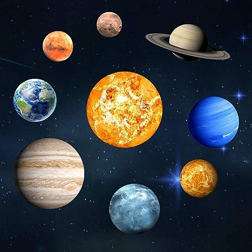 Goeco 9pcs Stickers Muraux Lumineux, 3D cool sphère lumineuse étoile fond, Neuf planète DIY décoration pour la maison...