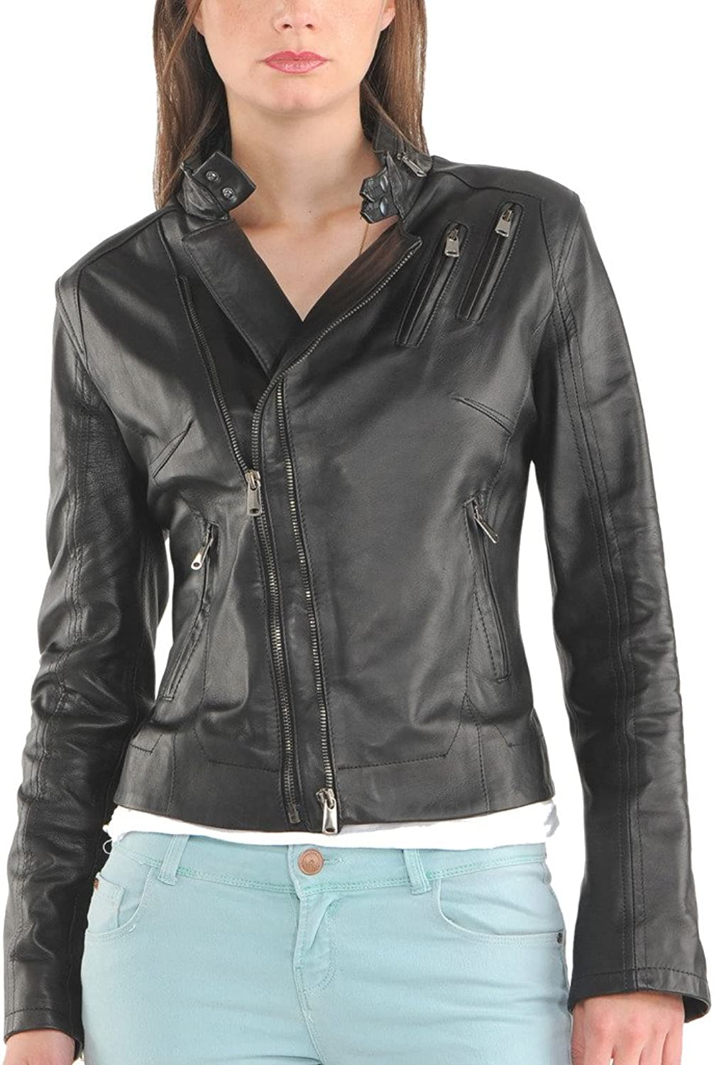 New Womens Motorcycle Genuine Sheep Leather Party Jacket LFW211