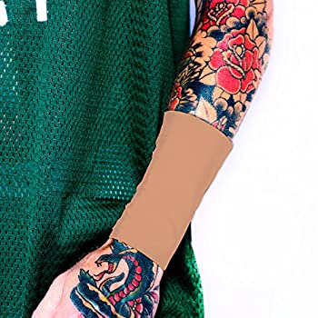 Tat2X Ink Armor Premium Suntan Forearm 6  Tattoo Cover Up Sleeve - No Slip Gripper - U.S Made -  single forearm tattoo cover sleeve   1 - X-Small/Small