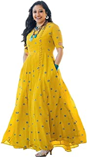 RUDRA ZONE Women's (Free Size) Yellow GOWN'S 1