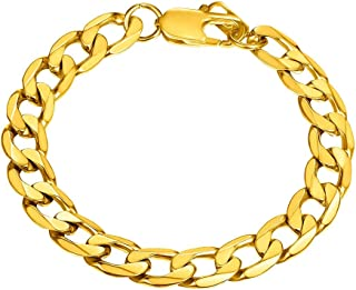 Cuban Curb Chain for Men Women Bracelet Link Chains Gold Plated/Stainess Steel/Black Fashion Jewelry, 6mm/9mm Width 7.5''/...