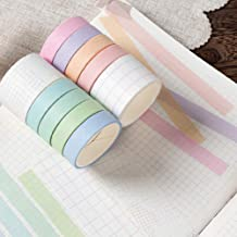 Washi Tape Set of 10 Rolls, Masking Decorative Macaron Paper Tape for Bullet Journal DIY Decor Planners Scrapbooking Party...
