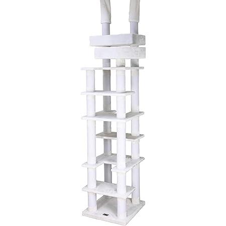 白布・綿縄(麻の匂いが苦手な方に最適) キャットタワー 突っ張り スリム 高齢シニア対応 CW-RT031 ネコタワー 高さ 約231~270cm 【丈夫な90mmポスト】 猫ベッド2個付き