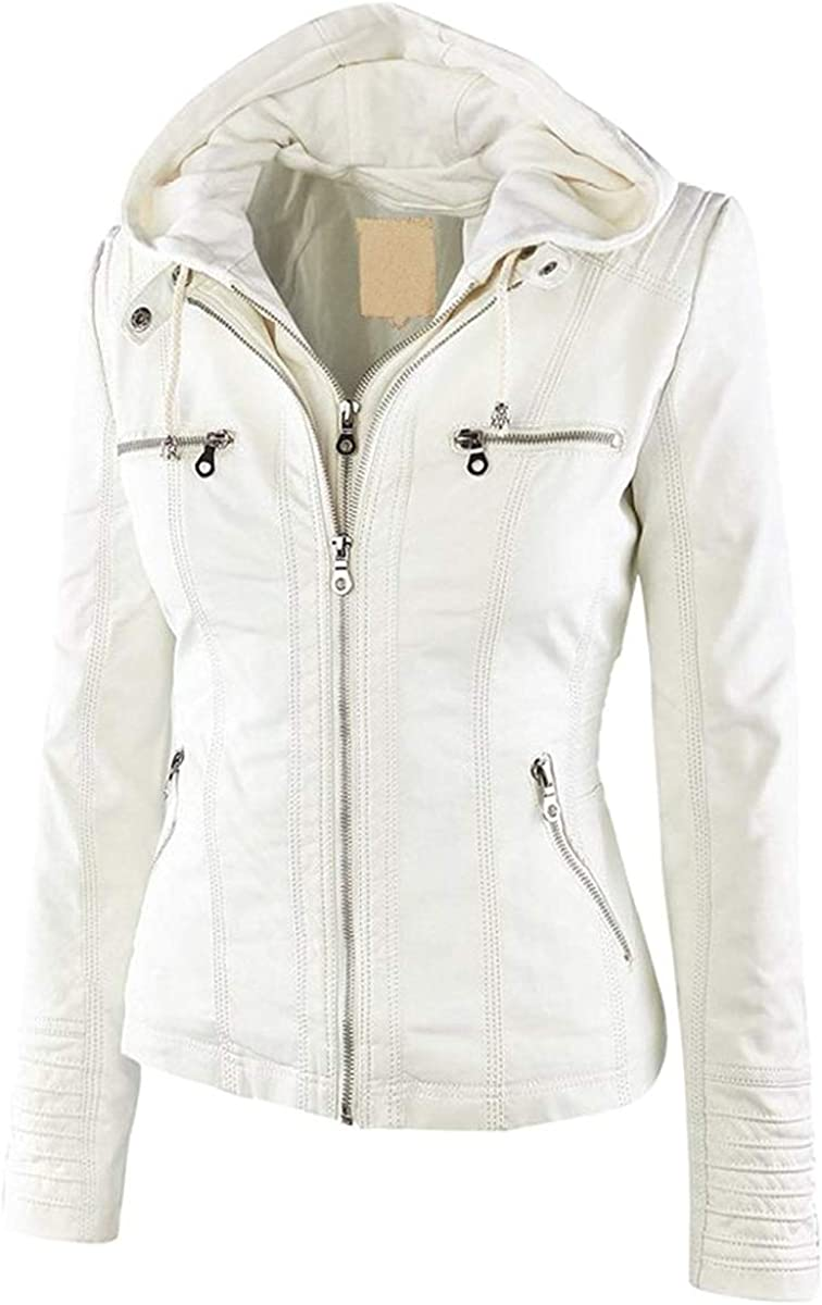 FOURSTEEDS Womens Casual Faux Leather Detachable Hood PU Leather Motorcycle Jacket Coat