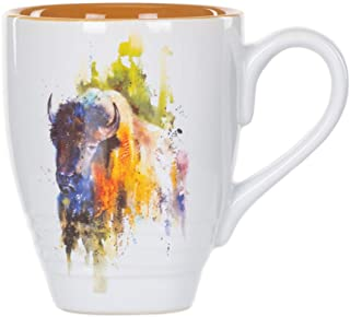 DEMDACO Bison Watercolor Brown On White 16 Ounce Glossy Stoneware Mug With Handle.