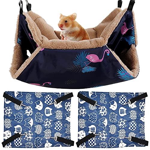 Guador Hamaca para Hámster, 3 Piezas Cama Colgante de Doble Capa para Colgar Hamaca Jaula para Mascotas Suave Cómoda para Mascotas para Cobaya Cerdo Chinchilla Gato Hurón Ratón Conejo (Azul)