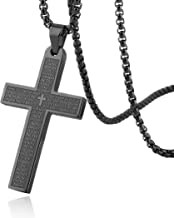 HZMAN Stainless Steel Mens Womens Cross Necklace Lord's Prayer Pendant, 4 Colors Available