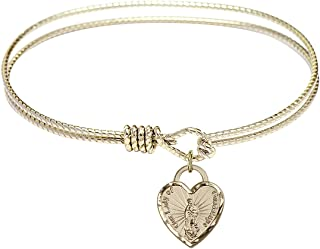 Oval Eye Hook Bangle Bracelet w/Our Lady of Guadalupe Heart in Gold-Filled