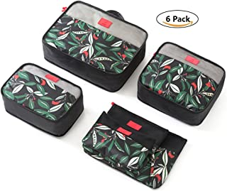 Ac.y.c 6 set Luggage packing Organizer-3 Travel Cubes for Packing 3 Packing Organizer Bags -Travel Suitcase Organizer (Black Flower)