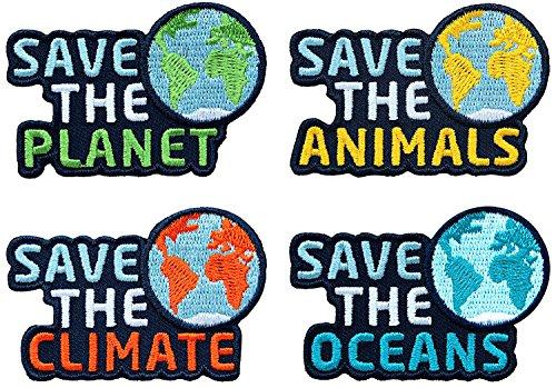 4er Set - Save the Planet - Abzeichen gestickt / Natur-Schutz Klima-Schutz Tierschutz Umwelt-Schutz Klima Meer Ozean Arten Erde / Aufnäher Sticker Flicken Patch / Nachhaltigkeit Wirtschaft Politik