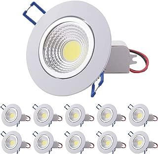 Pocketman 10 Pack COB luz de techo, 7W Dimmable Led Downlight empotrado, 2900-3100K 220V Kit de proyector con LED Driver 60degrees, blanco cálido