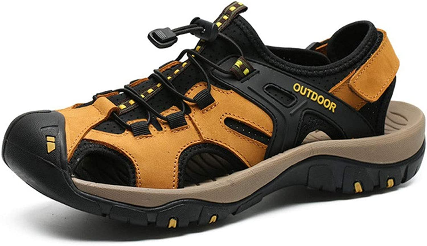 Sandals Men's, Breathable Non-Slip Closed-Toe Outdoor Hiking shoes (color   Yellow, Size   38)