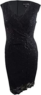 Womens Lace Sequined Cocktail Dress