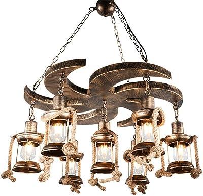 Lámpara de cuerda de cáñamo Lámpara de araña Lámpara de restaurante Lámpara de dormitorio industrial retro Lámpara colgante Country House Loft luz pendiente Altura ajustable Lámpara de cocina Ø70CM: Amazon.es: Iluminación
