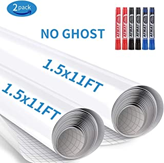 Stick White Board, Dry Erase Contact Paper, Whiteboard Stickers for Wall, 1.5x11ft White Board Roll Peel and Stick, Super Sticky, No Ghost White Board Paper Roll Adhesive,Dry Erase Wallpaper,6 Markers
