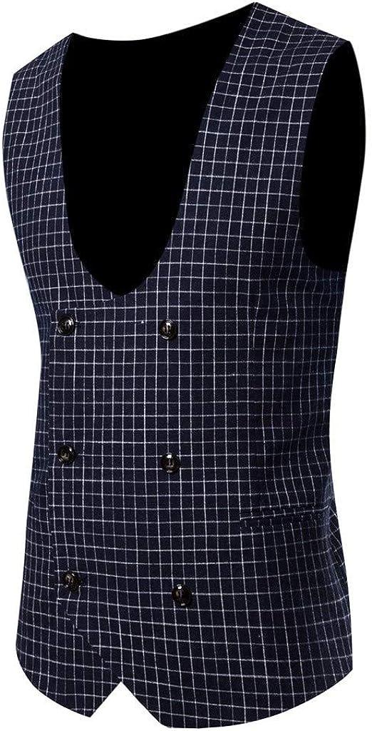 Men's Waistcoat Vintage Plaid Formal Casual Business Tuxedo Suit Vest