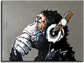 BPAGO Animal Chimp Painting Abstract Modern Wall Art for Living Room Monkey 100% Oil Paintings on Canvas Thinking Gorilla Artwork (32 x24 inch)